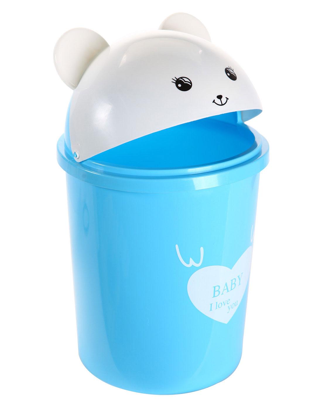 蓝色可爱小熊塑料垃圾桶 8l