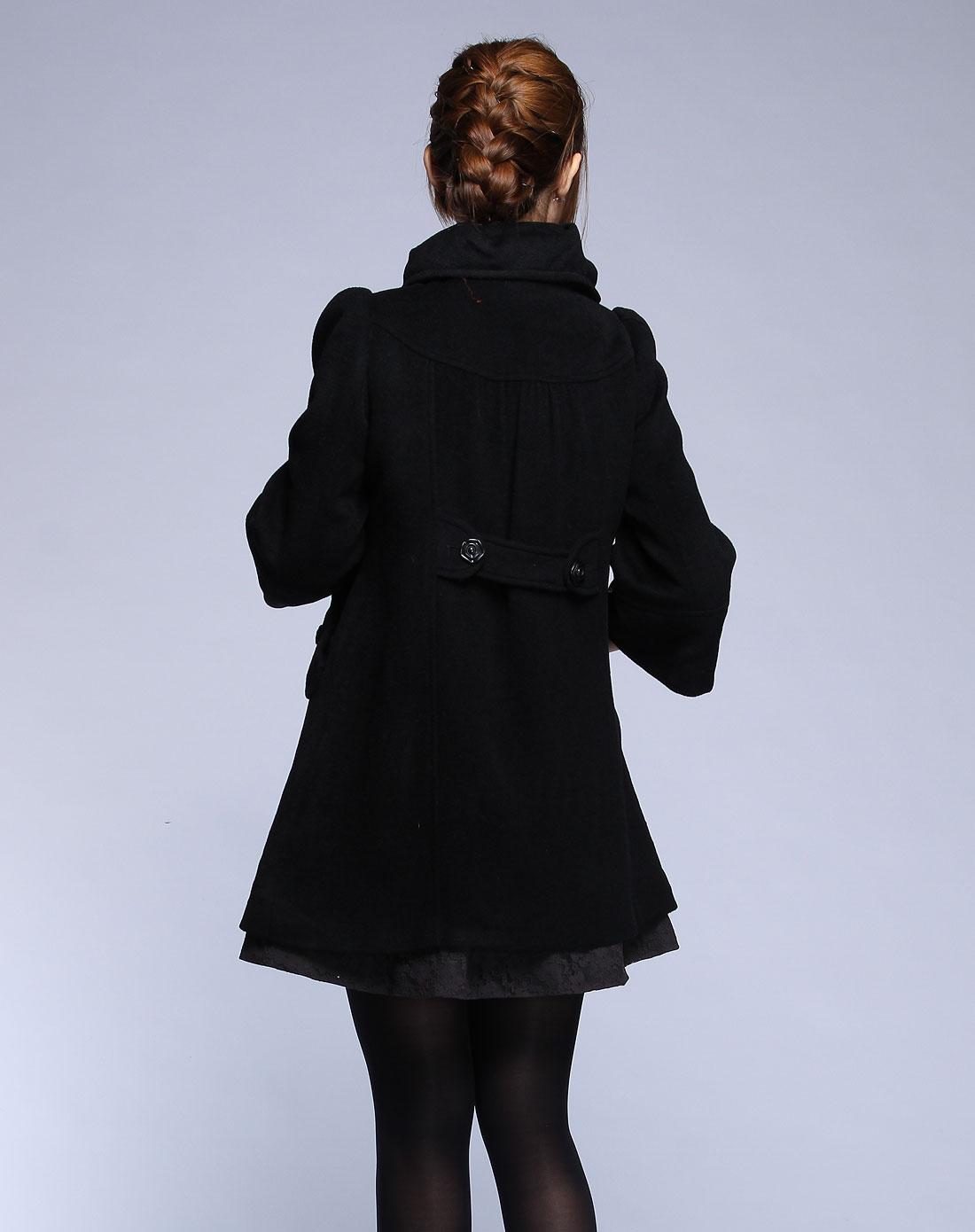 卡莎布兰卡casablank黑色毛呢七分袖大衣c1180809888