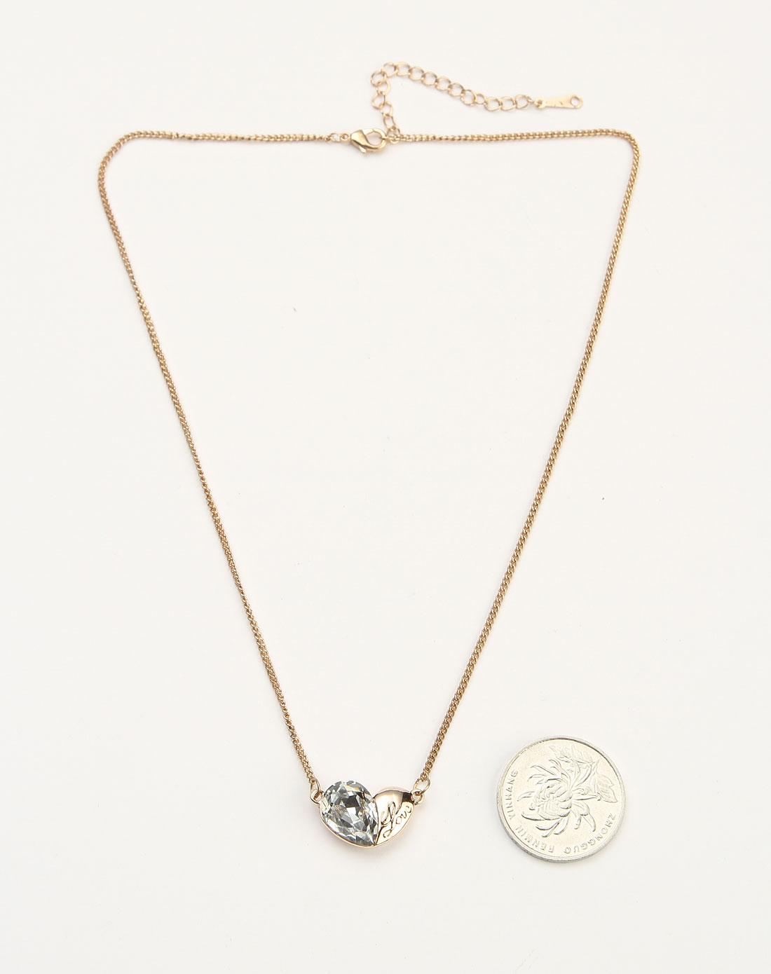 金/白色心形水钻项链