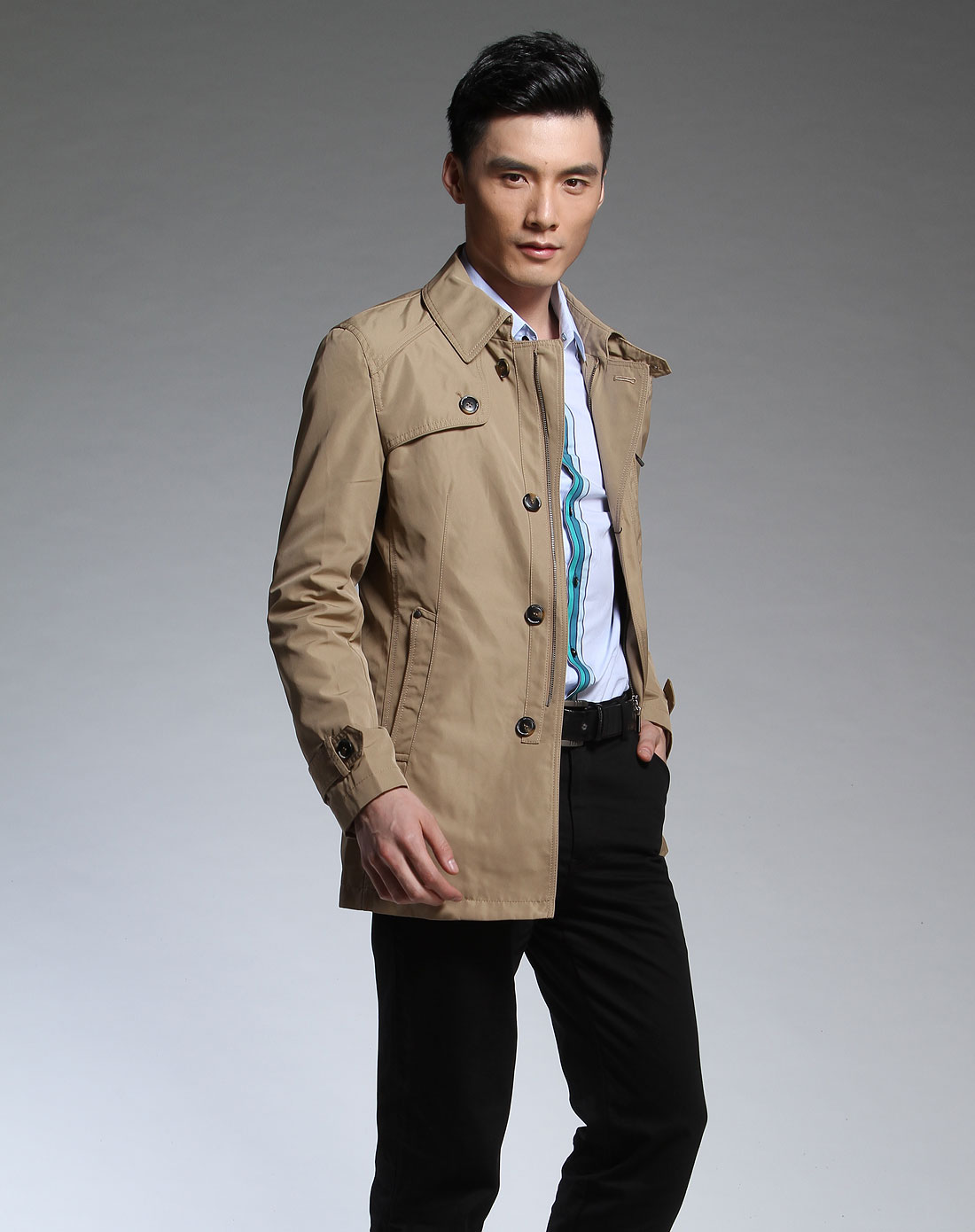 男�ya[�X�~[�Y�X�_男款卡其色休闲时尚长袖风衣