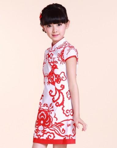 女童中国红旗袍