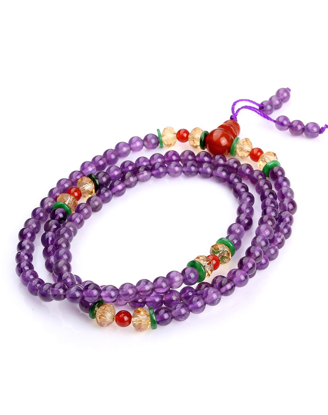 天然紫水晶佛珠手链5mm-108