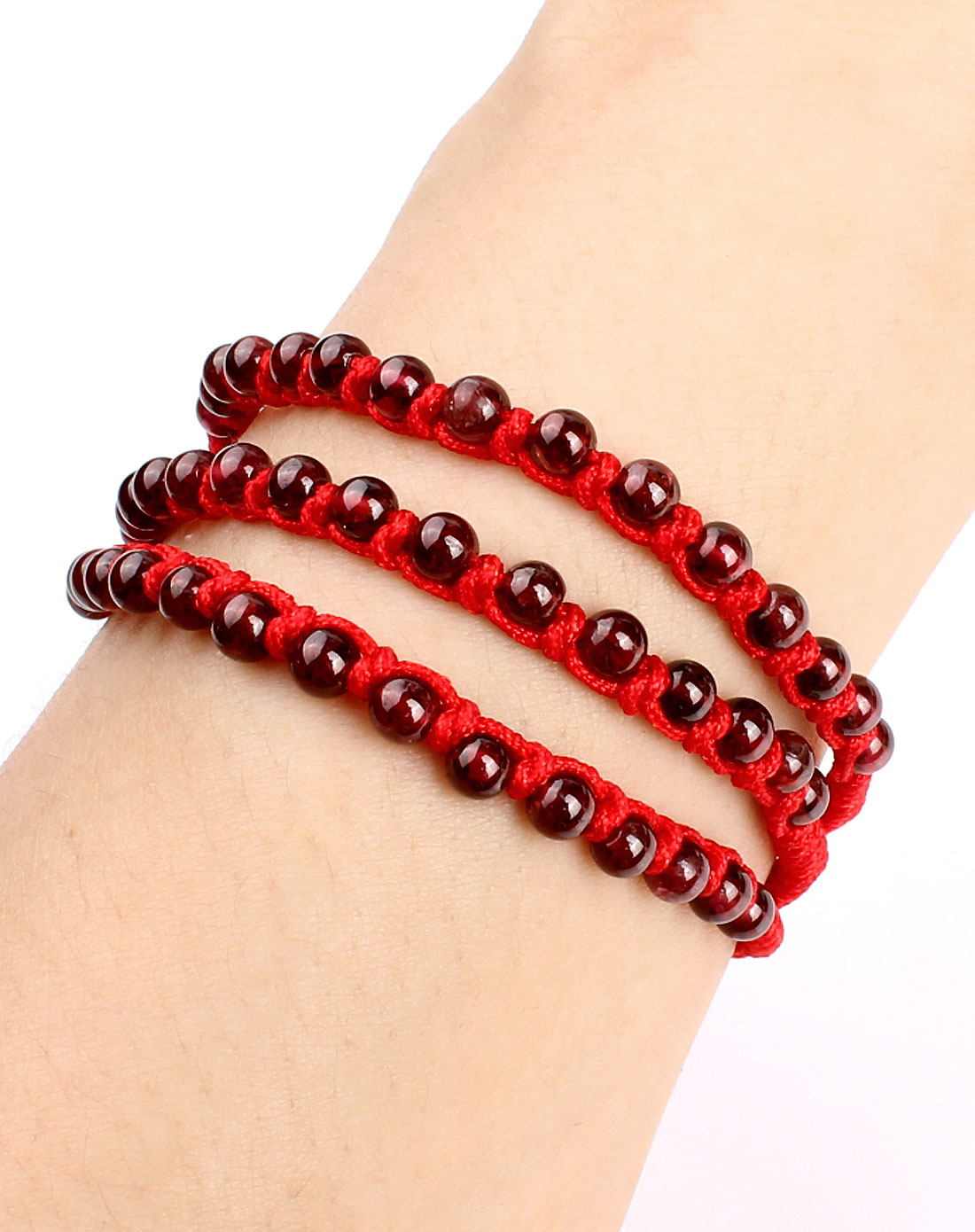 手工编织红绳手链 天然石榴石