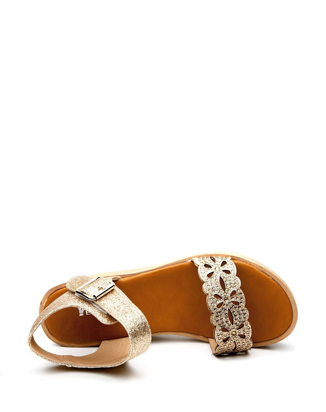 金色坡跟凉鞋