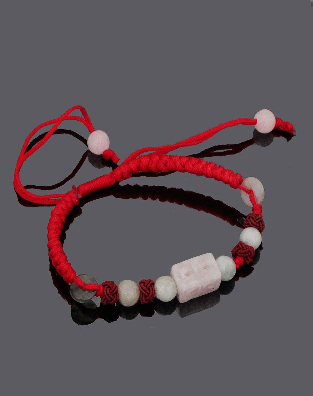 女款红色手工编织翡翠转运珠手链