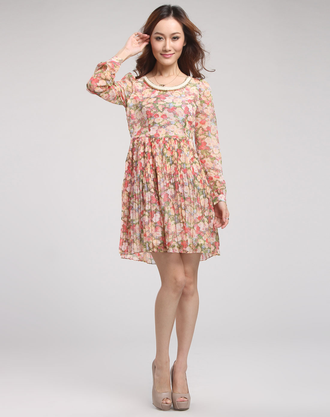 蔷薇红色时尚花纹长袖连衣裙