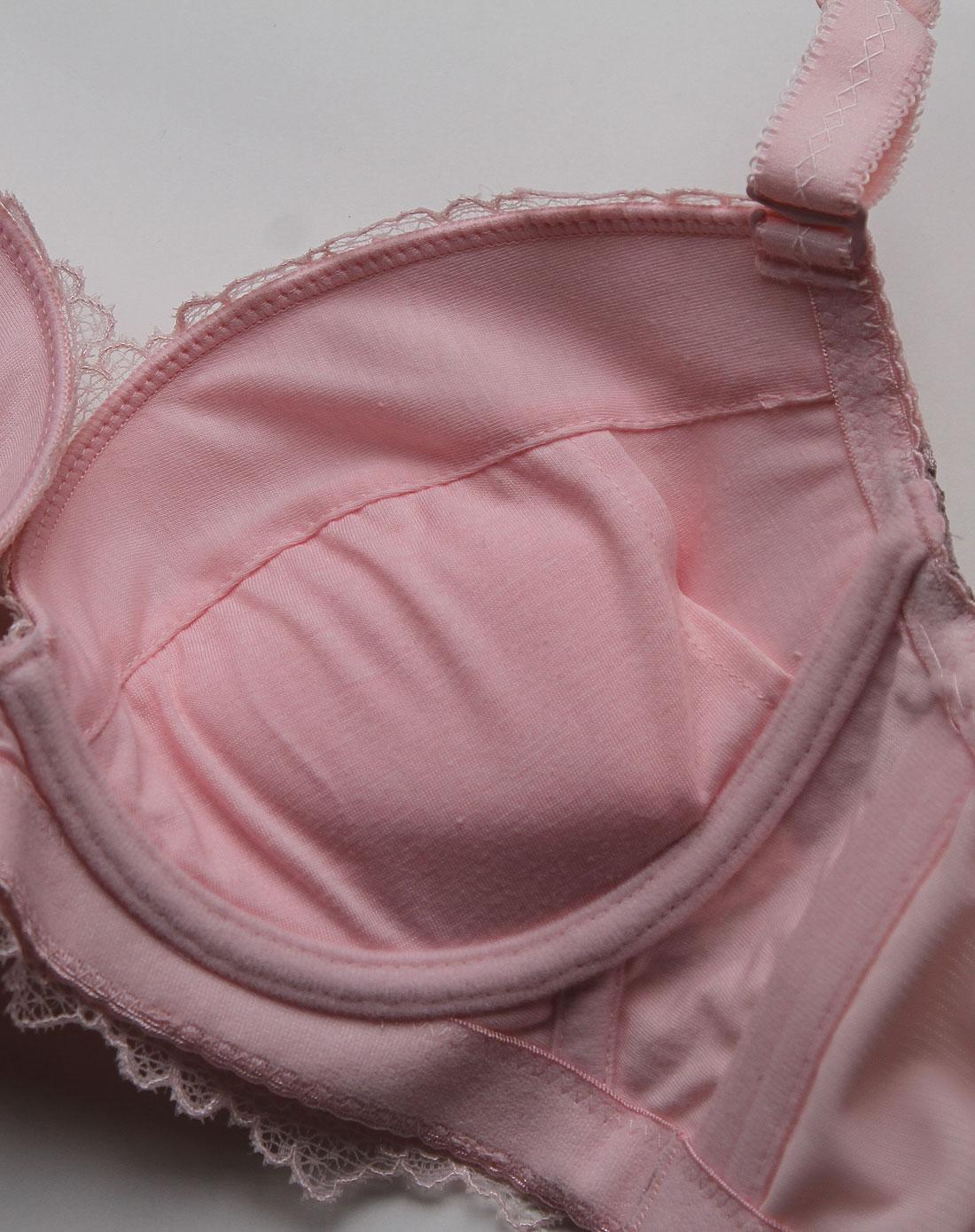 粉红色蕾丝3/4模杯文胸