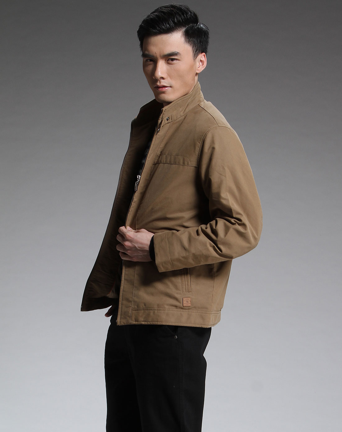 圣大保罗深卡其色时尚长袖外套pw7wj20244