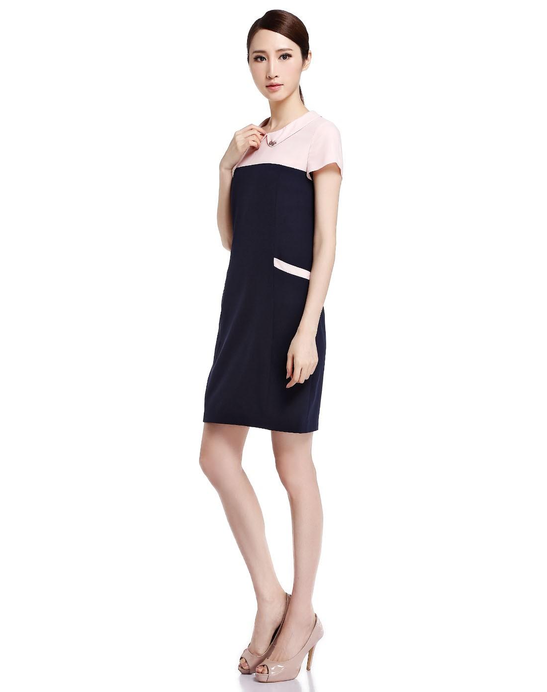 深蓝/粉红色简约拼接短袖连衣裙