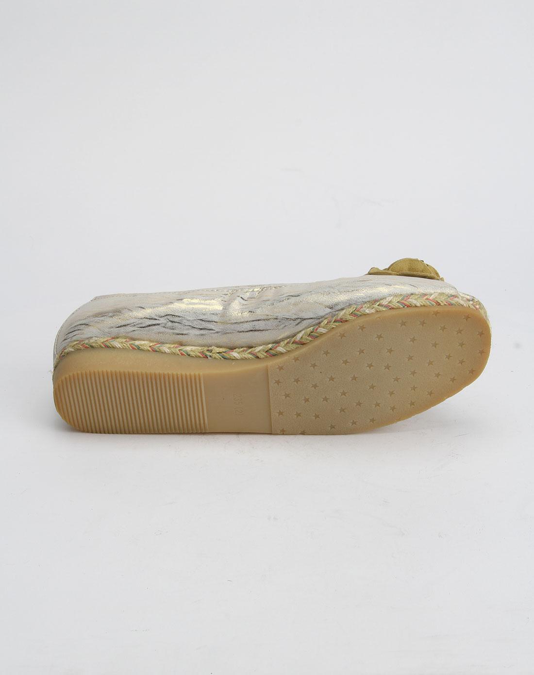 诗思c&c女款金色优雅低跟鱼嘴鞋111656419