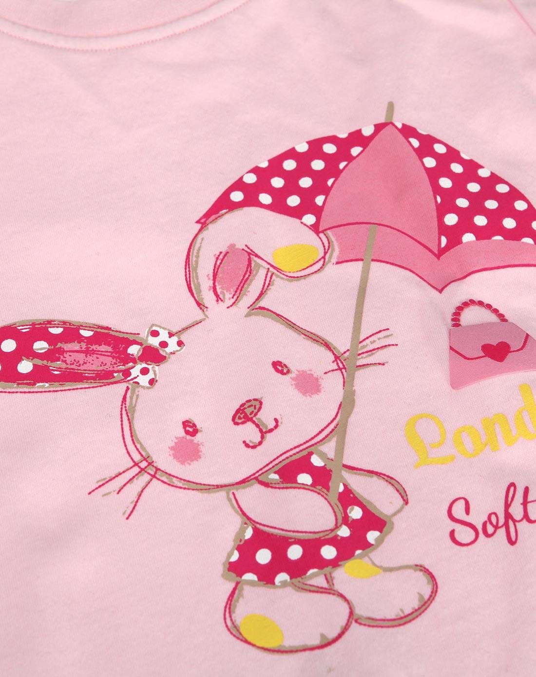 女童浅粉色卡通短袖t恤