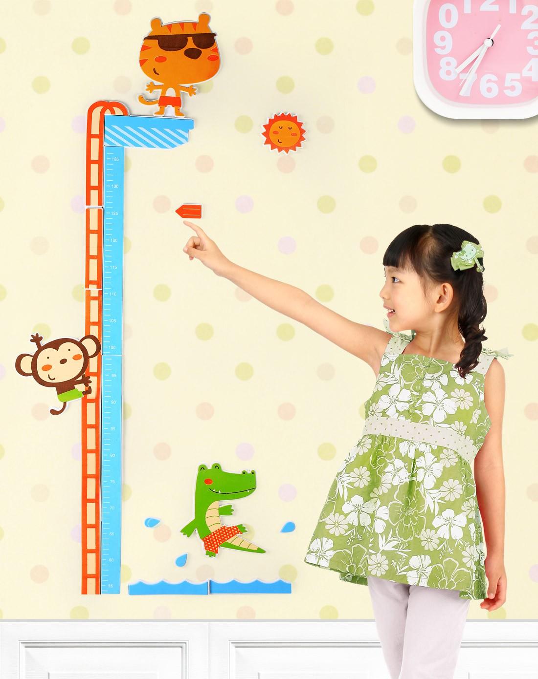 儿童立体量身高尺卡通墙贴动物王国