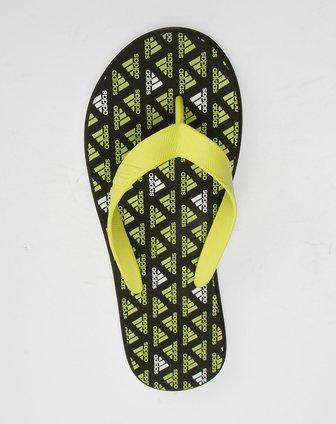 阿迪达斯adidas黑黄色阿迪达斯logo图案拖鞋u43624