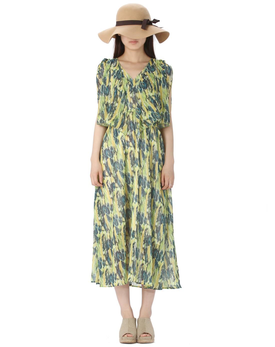 多色印染欧式田园复古连衣裙