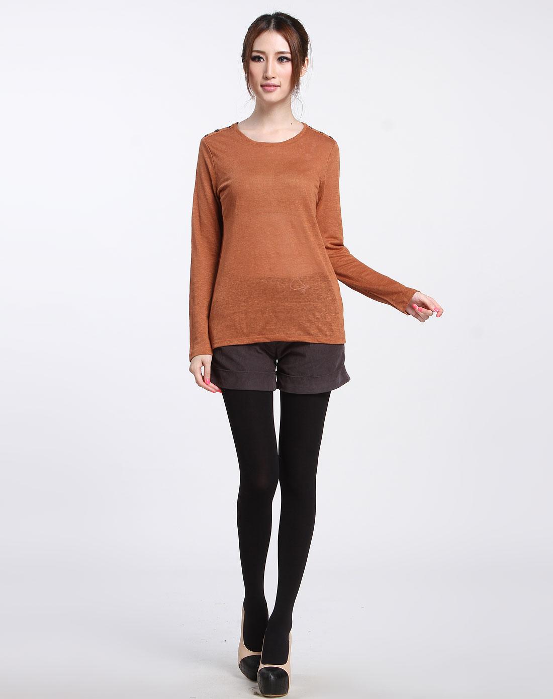 棕色简约圆领长袖针织衫