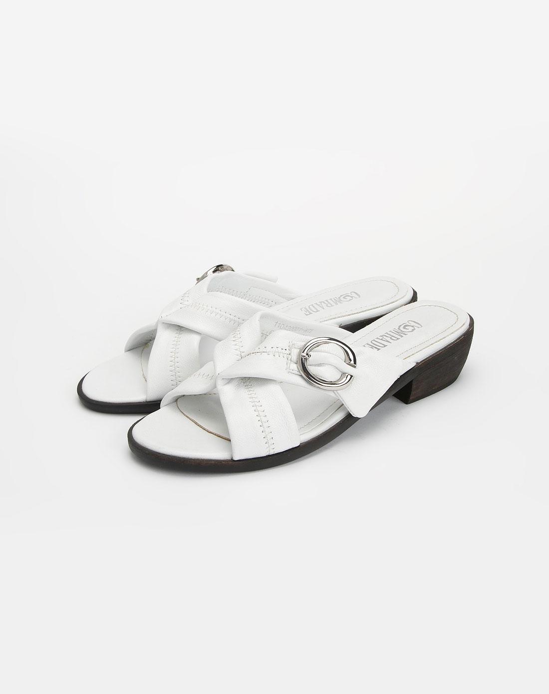康莉comely女款头层白色绵羊皮圆头拖鞋110420001wtl
