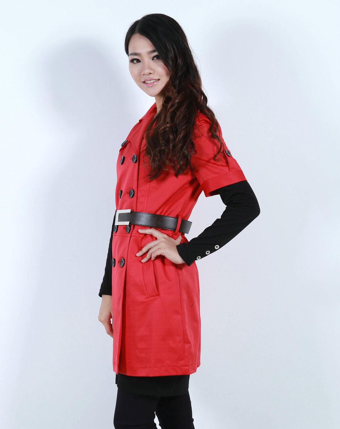 风衣女装_女装红色风衣