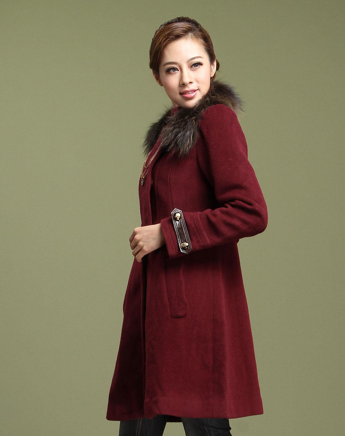 衣香丽影枣红色高贵优雅长袖大衣118803915