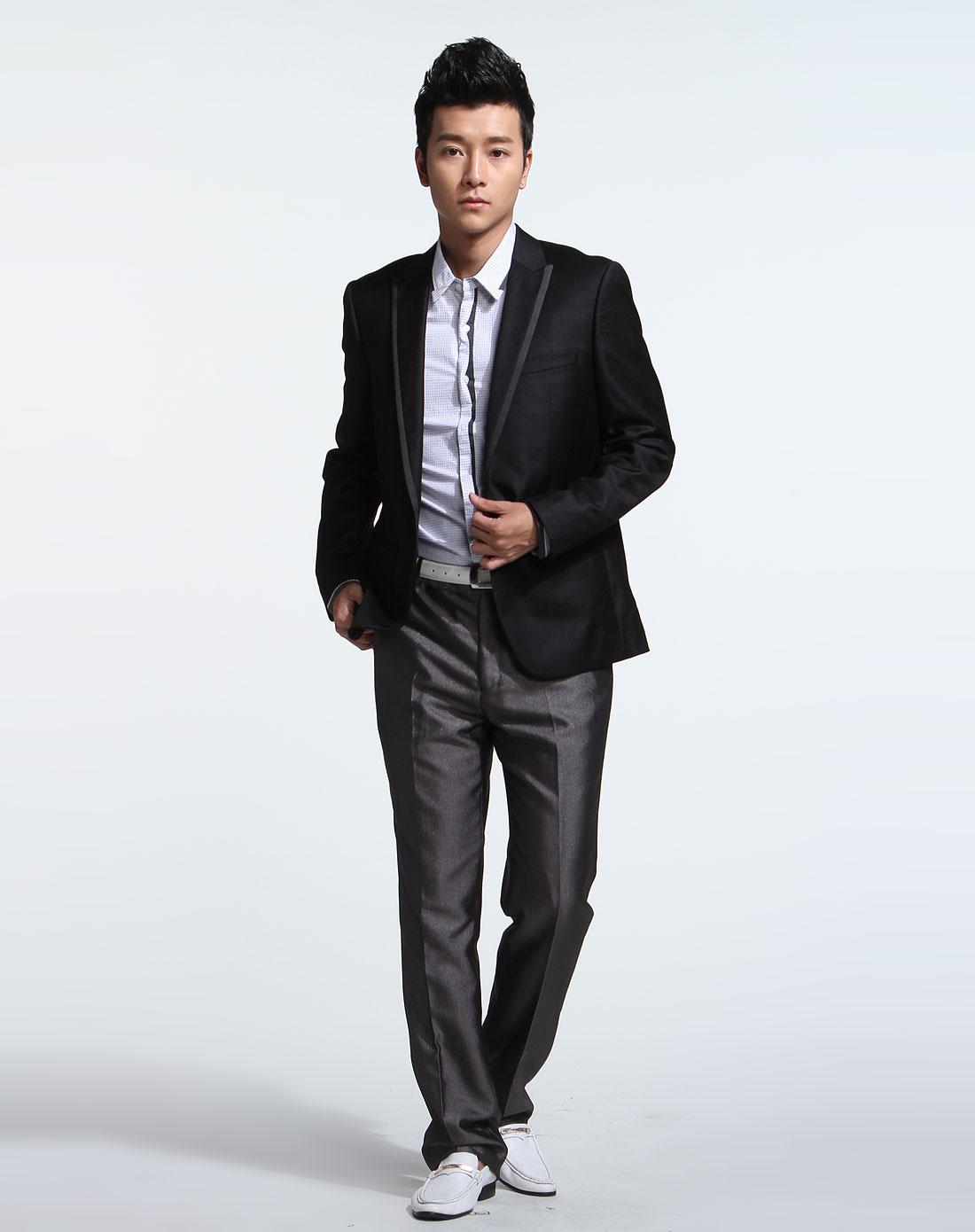 黑色时尚商务长袖西装