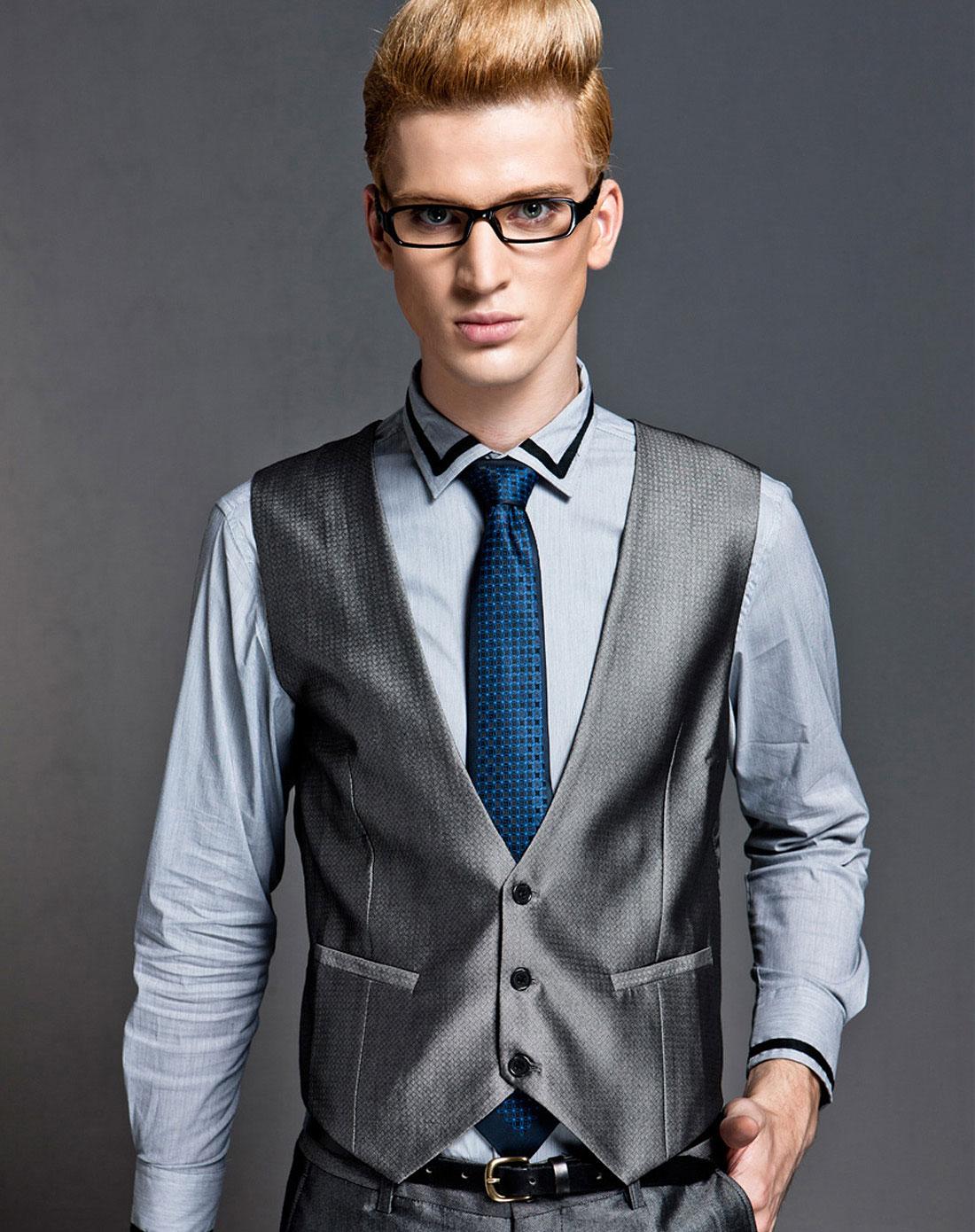 银灰色时尚v领修身西装马甲背心