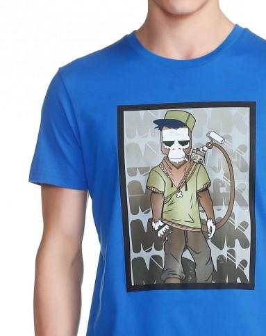 蓝色卡通人物印花短袖t恤