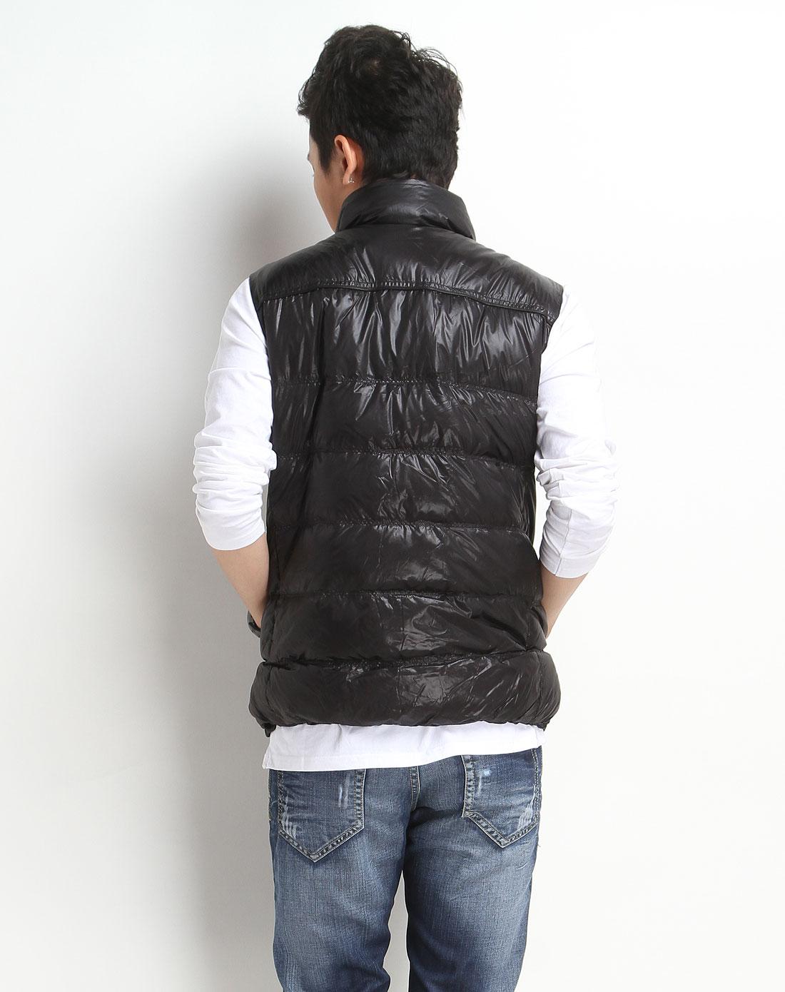 森马男装专场-黑色休闲羽绒背心图片