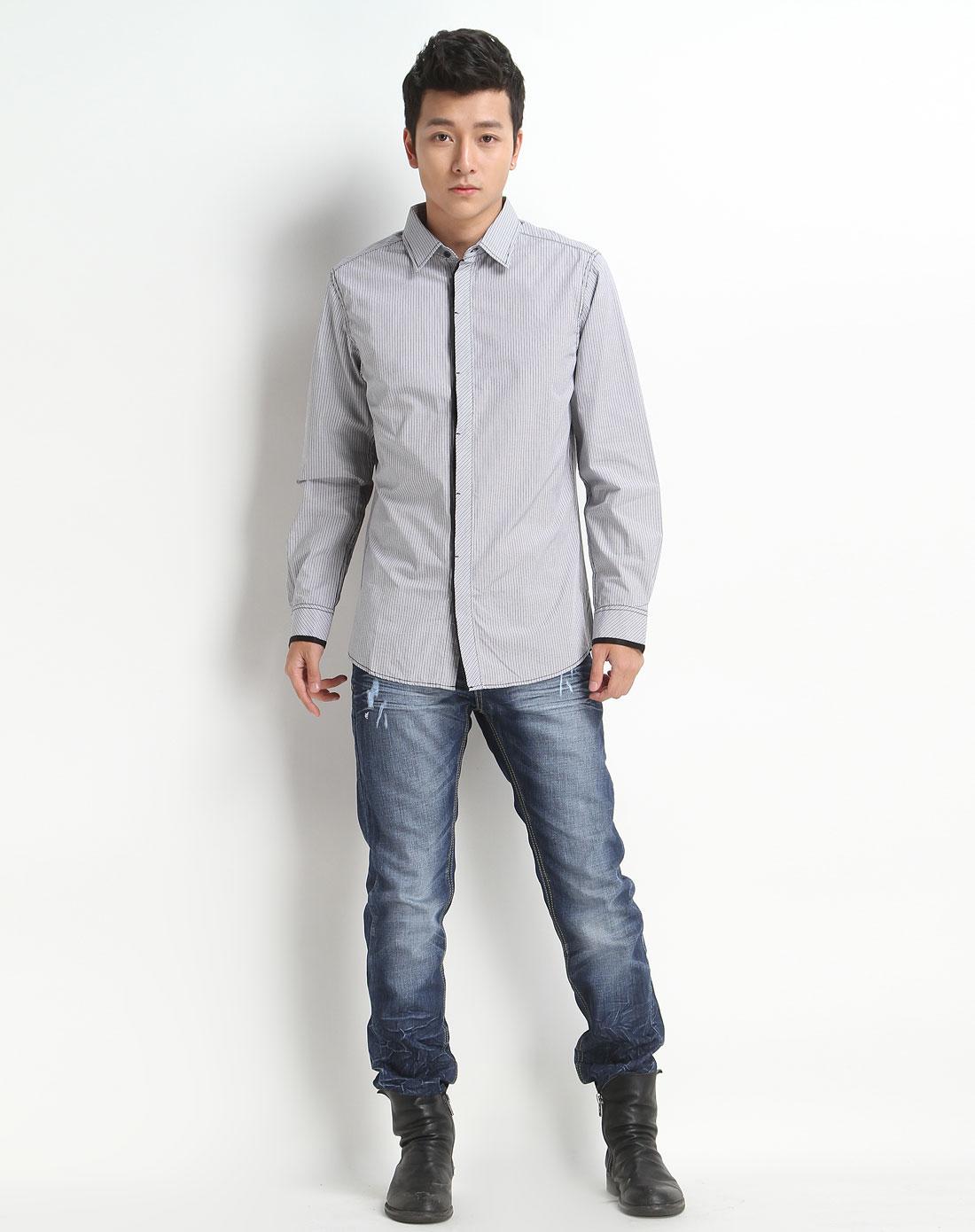 森马男装专场-灰色条纹长袖衬衫图片