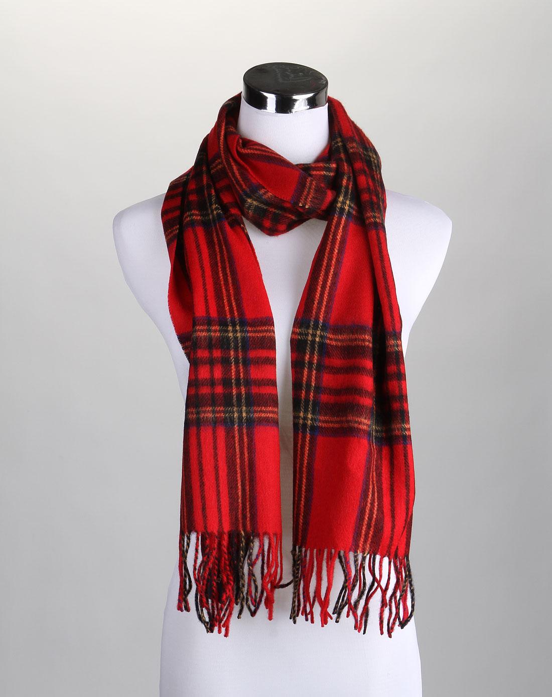 红色格子时尚围巾披肩