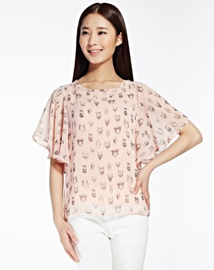 小衫批�_粉红花纹女短袖小衫
