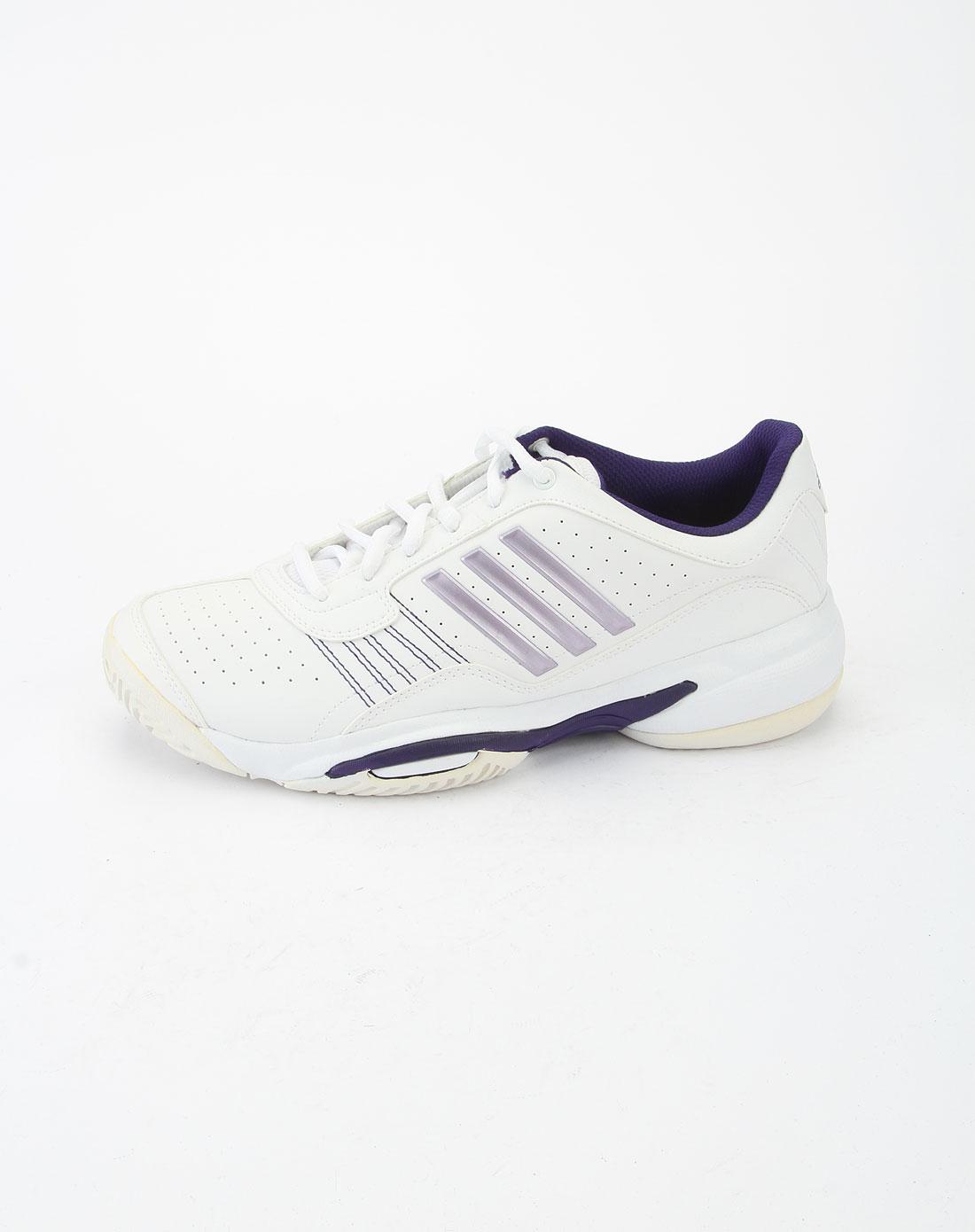阿迪达斯adidas白色底紫边时尚网球鞋u43740