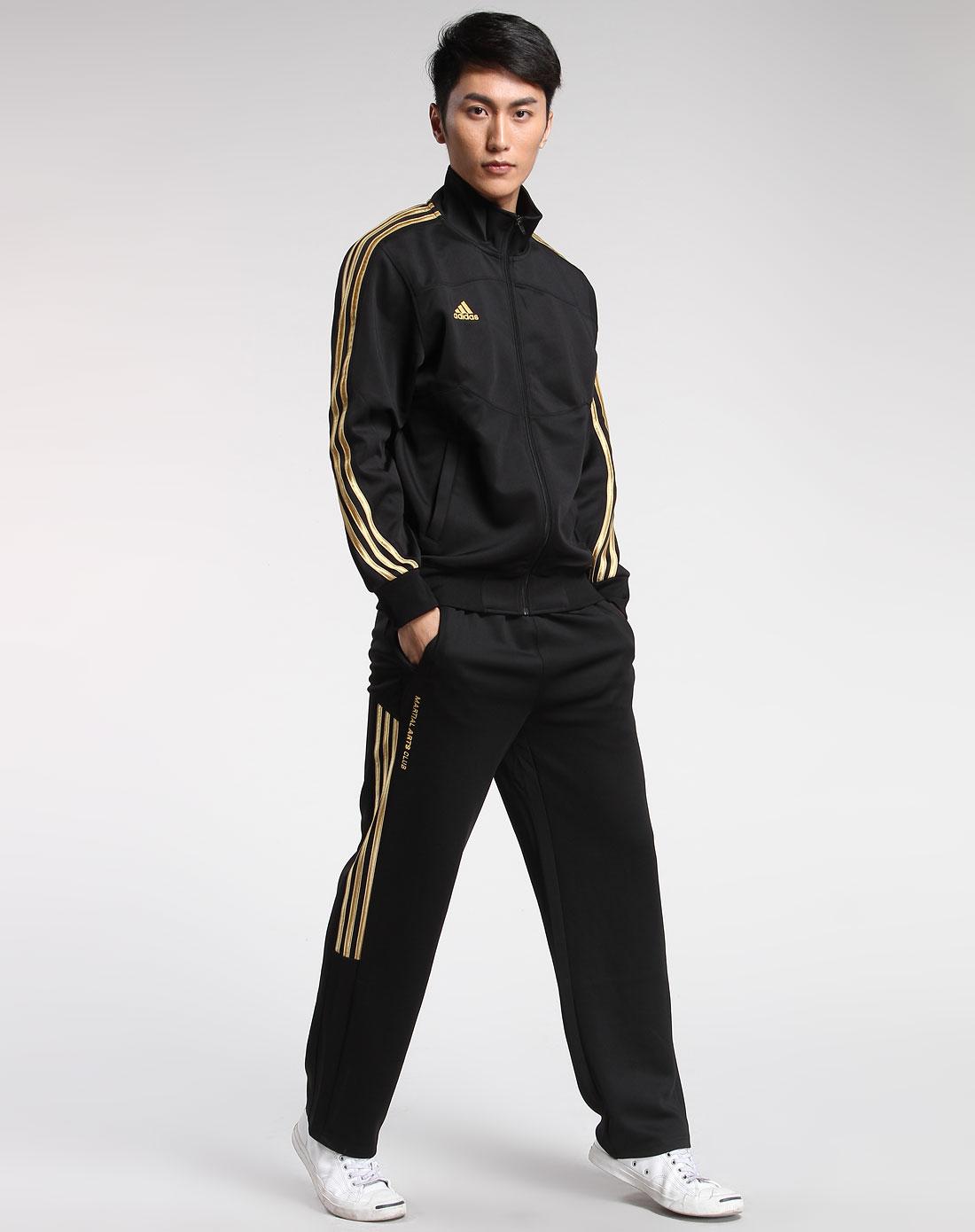 男款黑/金色时尚长袖弹性运动服图片