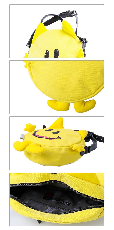 商场同步款黄色玩趣俏皮哈哈笑卡通图案造型随身包