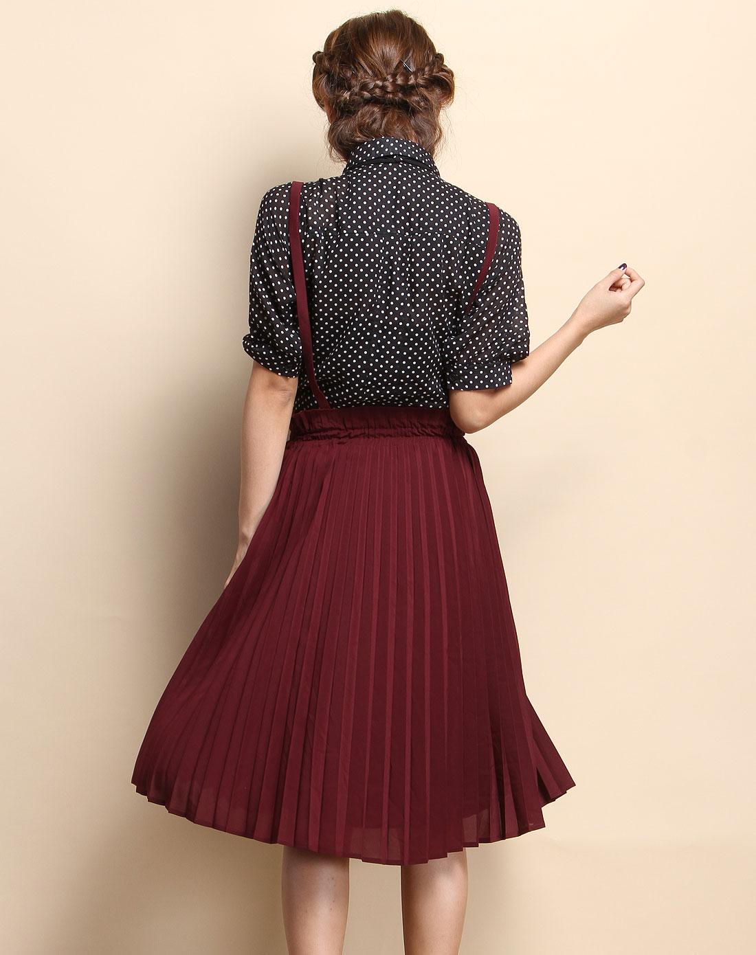 ?_紫絳紅色時尚條紋中裙