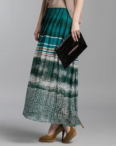 绿色个性花纹长裙