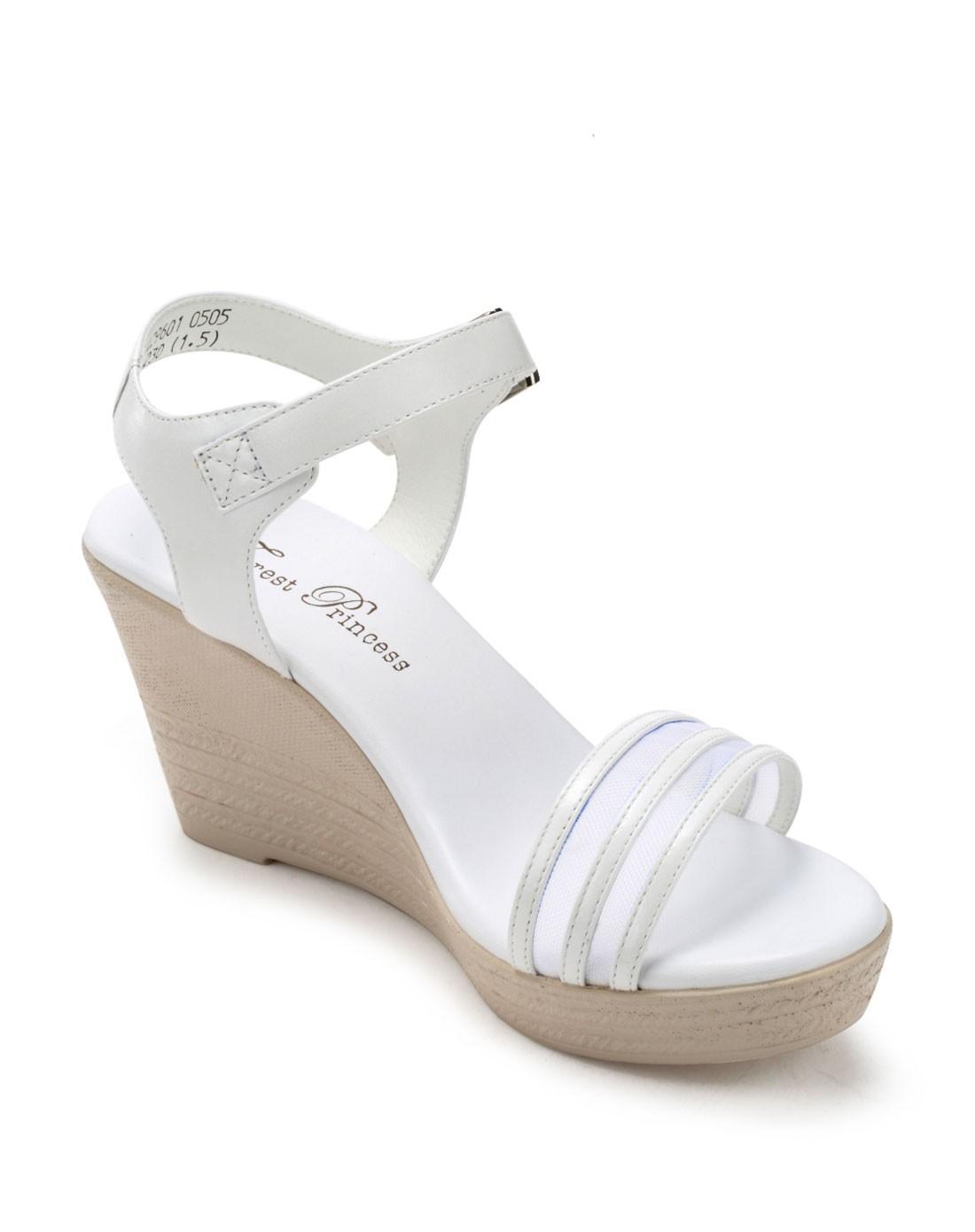 森林公主forest princess白色牛皮条纹网格坡跟凉鞋ff