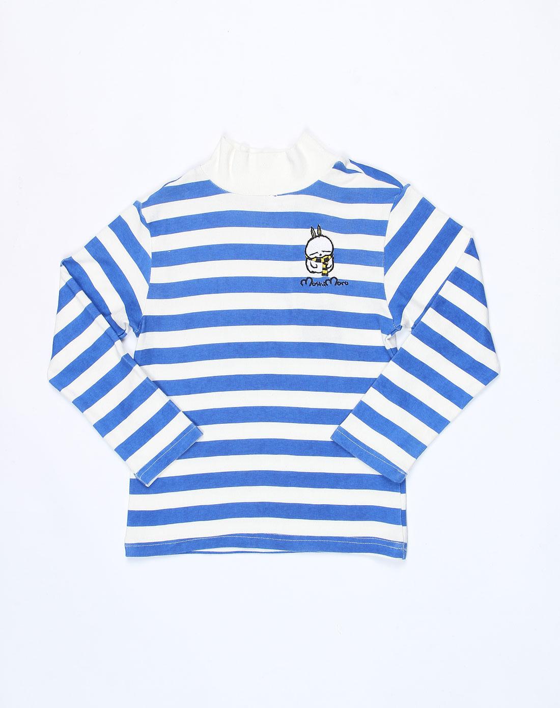 麻希玛柔moshimoro男女童混合专场-男童白底蓝色横间长袖针织衫