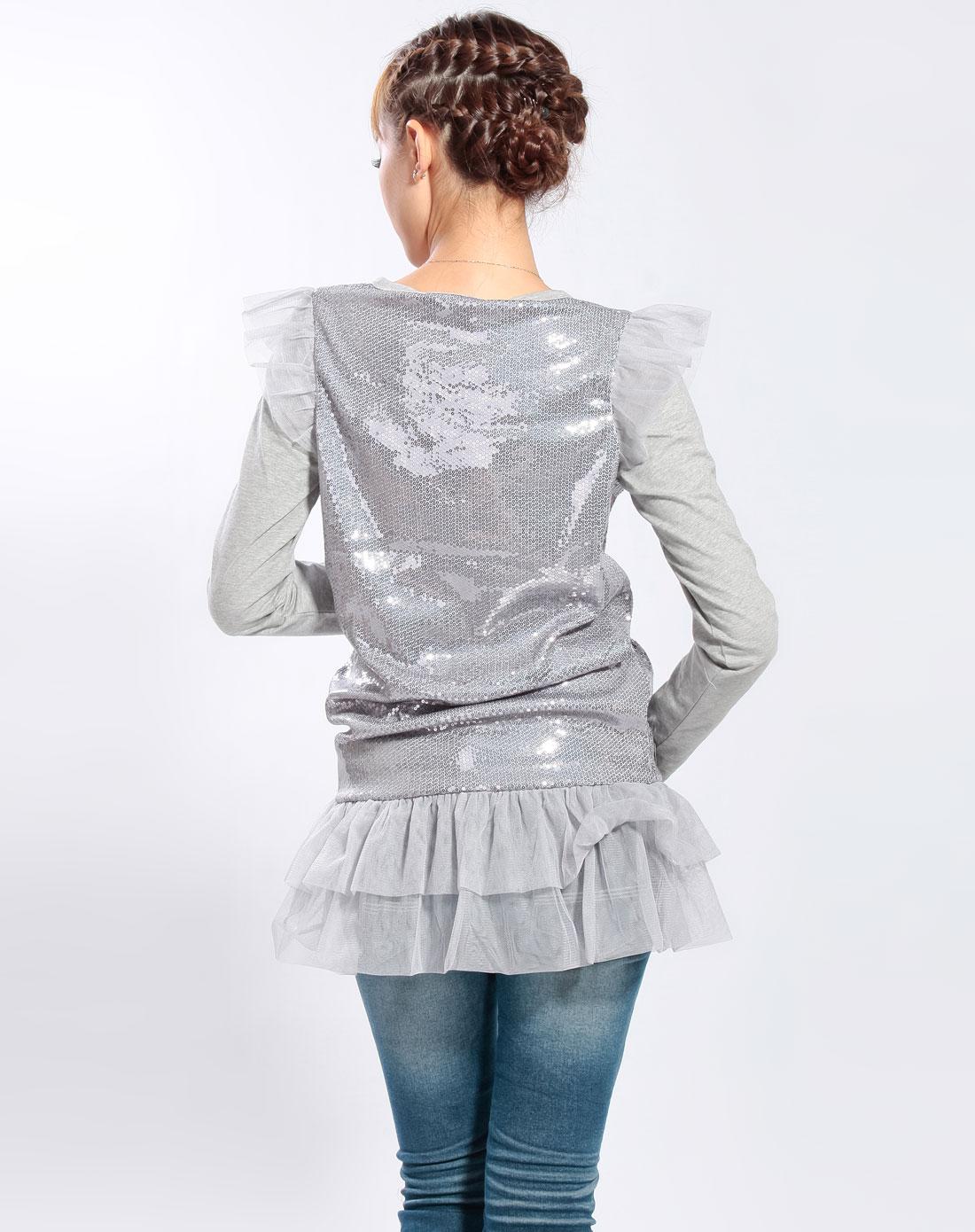 男生头�y��/k�aY�_y.k-灰色亮片长袖连衣裙