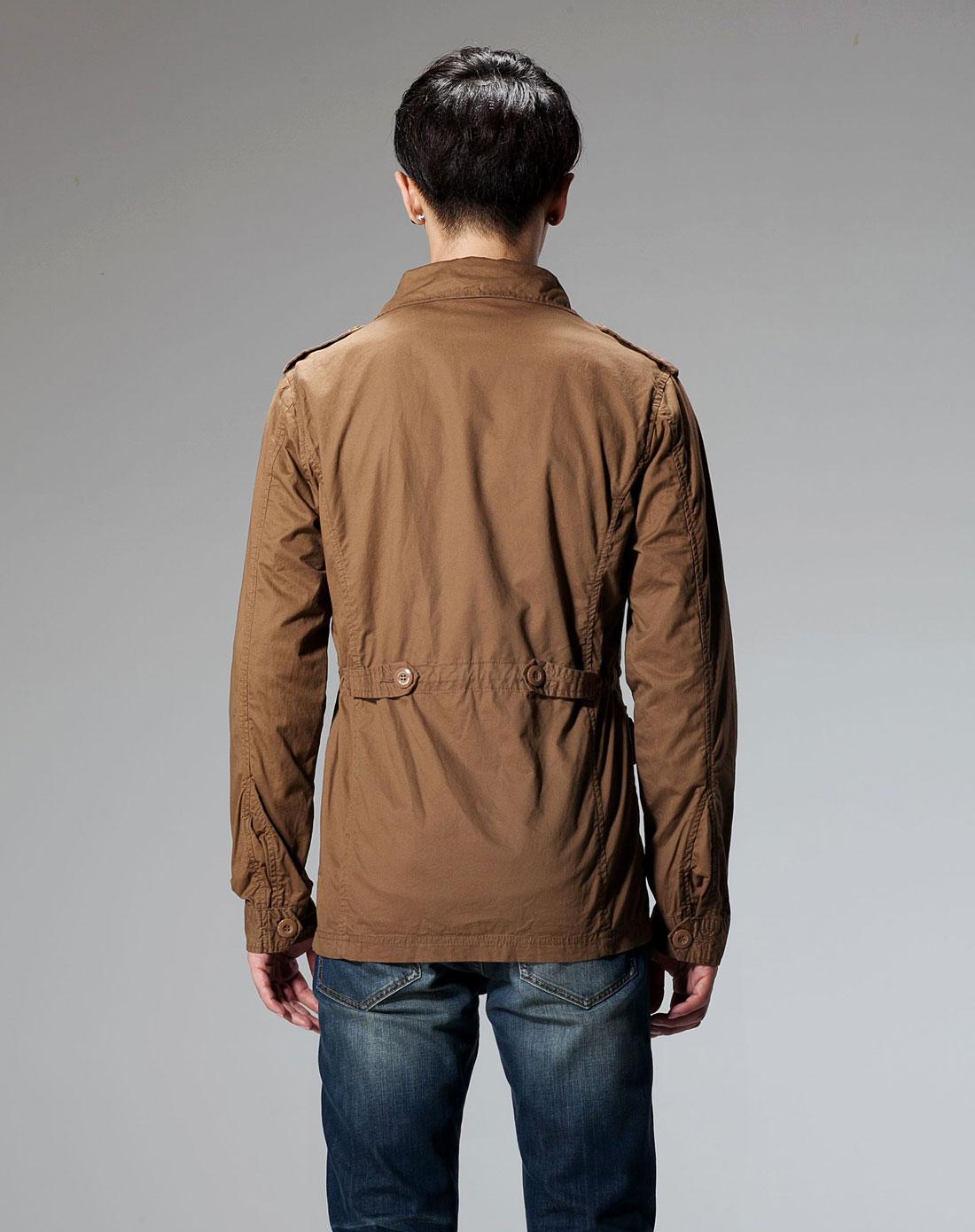 唐狮tonlion深卡其色时尚翻领长袖外套