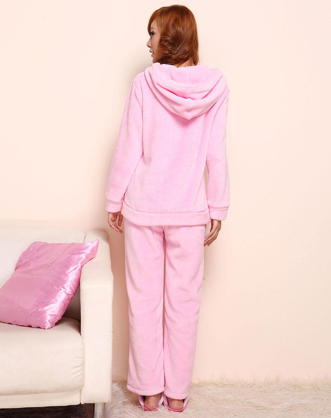 粉红色连帽俏丽可爱长袖家居服套装
