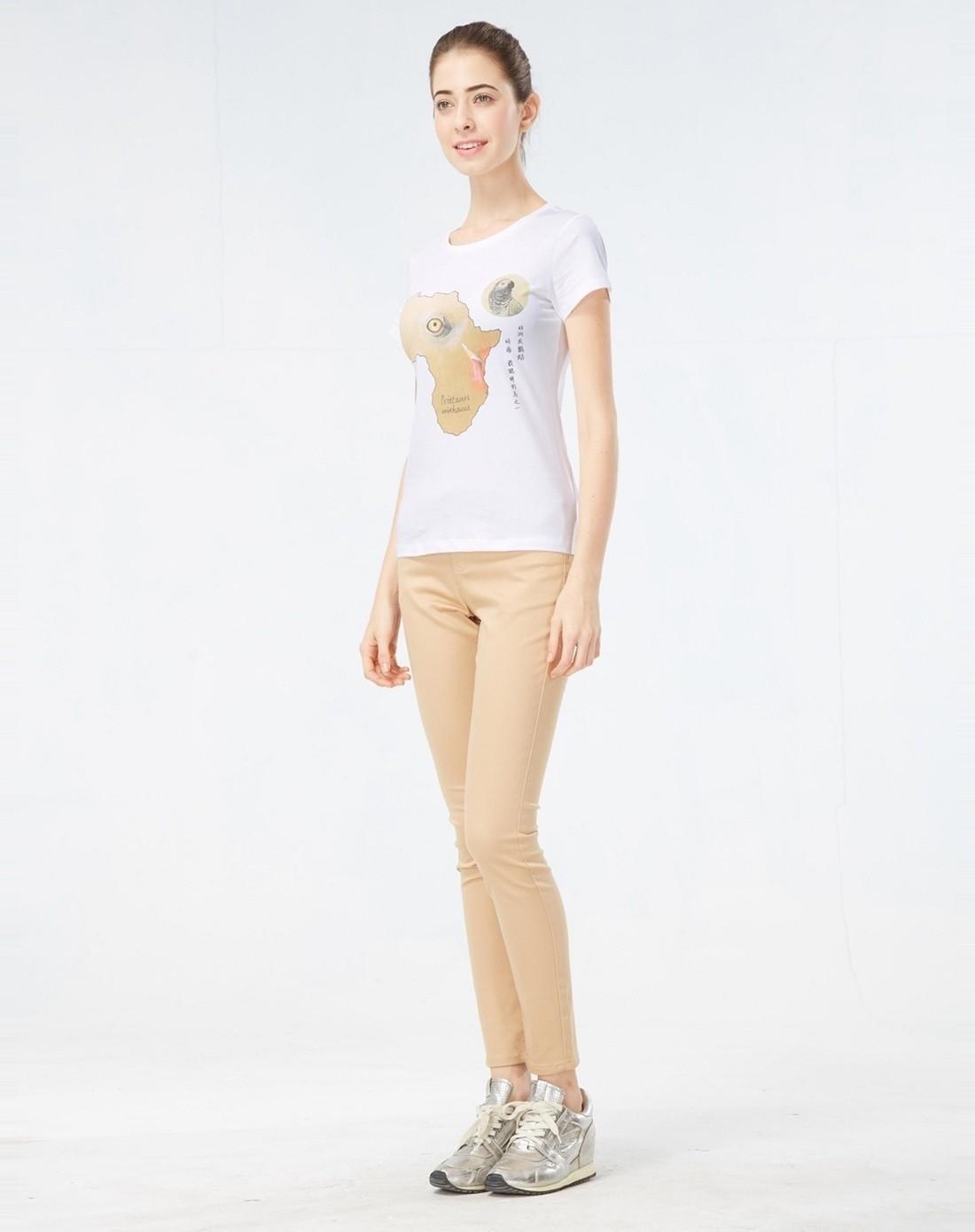 经典白色王昱珩设计非洲灰鹦鹉印花纯棉t恤