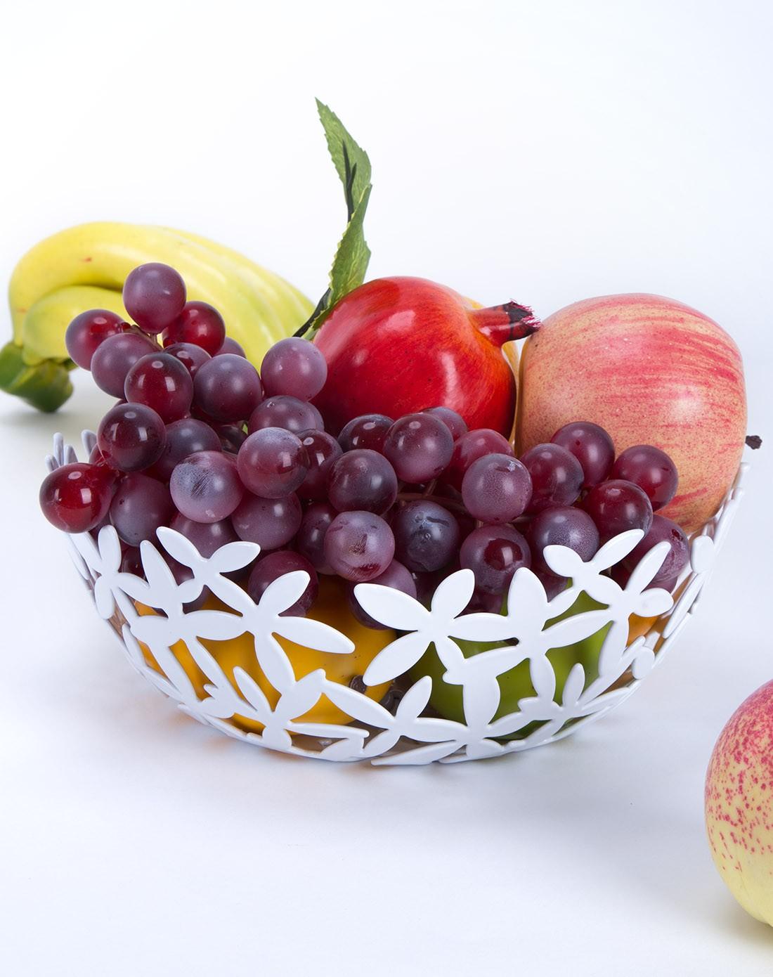 纯色简约兰花桌面水果收纳篮-白色