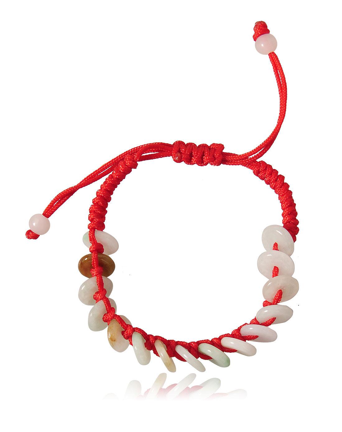 天然翡翠珠红线编织手链