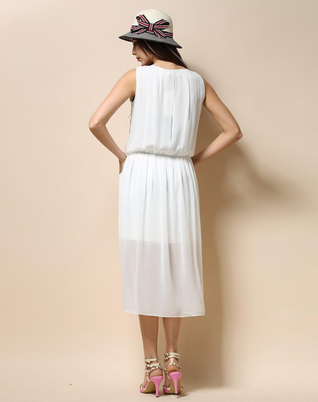 无袖跺(h��ފ9_米白色无袖连衣裙