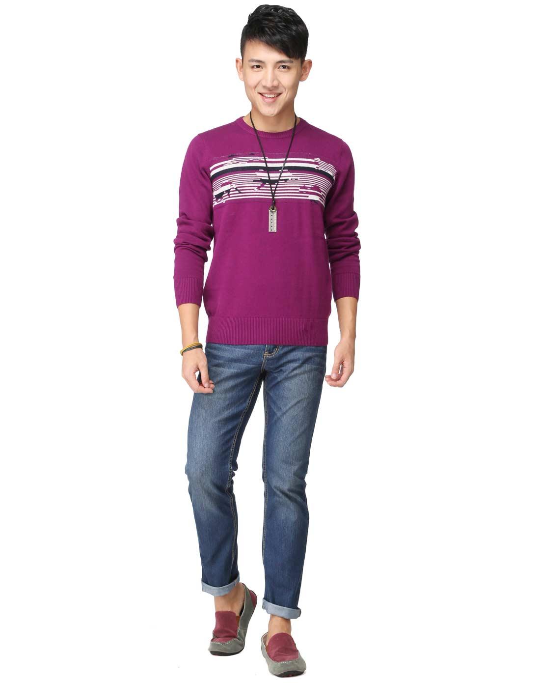 真维斯jeanswest男男装紫红色经典圆领针织衫jw-44图片