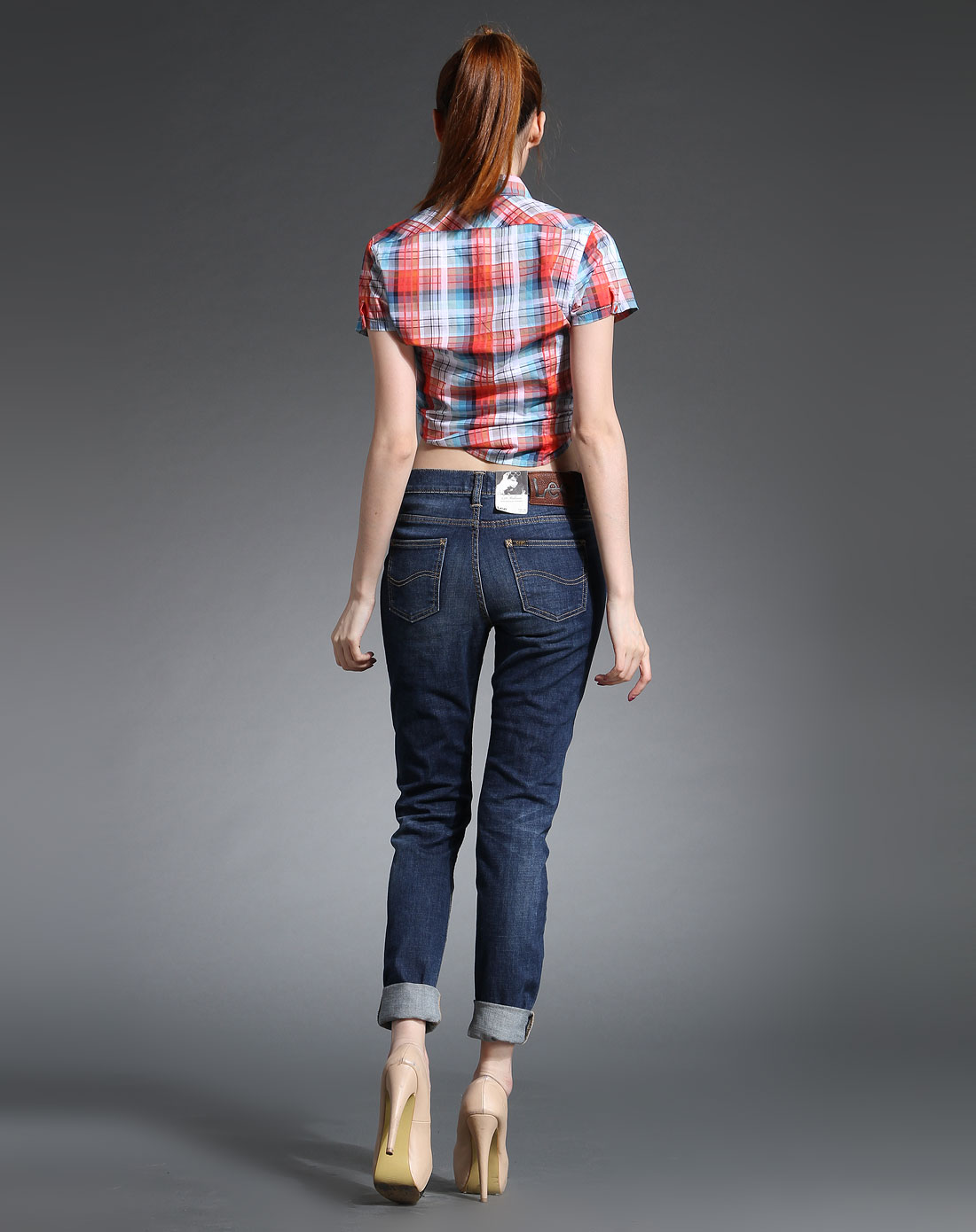 紧身牛仔�z(�_女款蓝色紧身高腰牛仔长裤