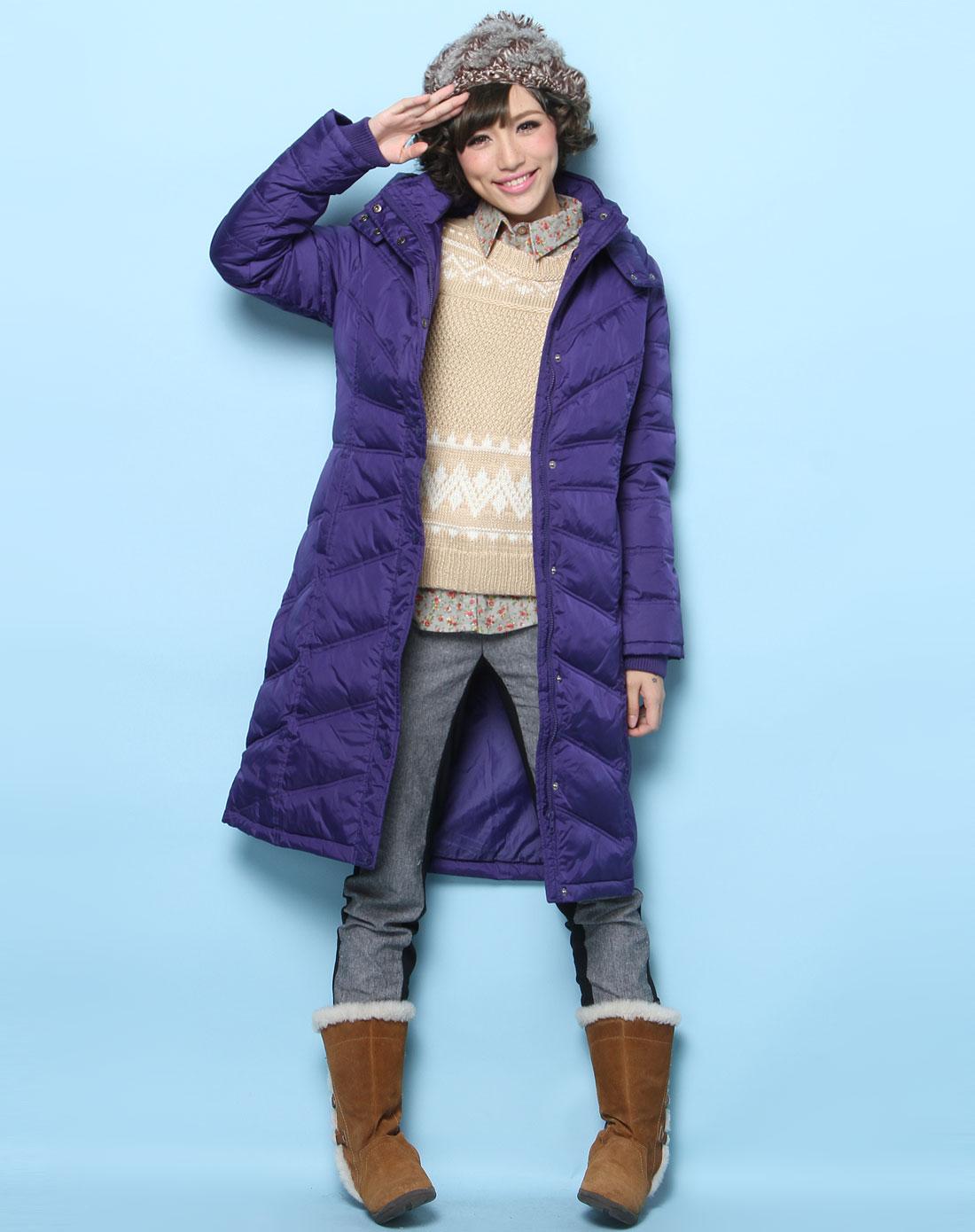 森马女装专场-蓝紫色时尚长款长袖连帽羽绒服图片