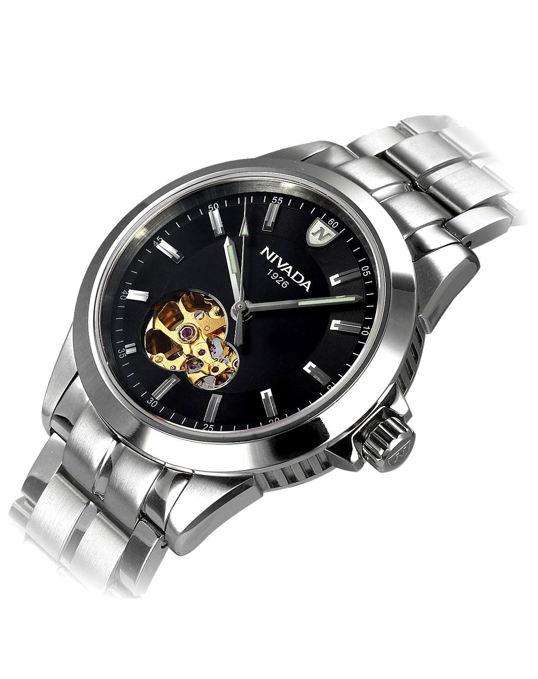 男款黑/银色螺纹透视底盖机械手表