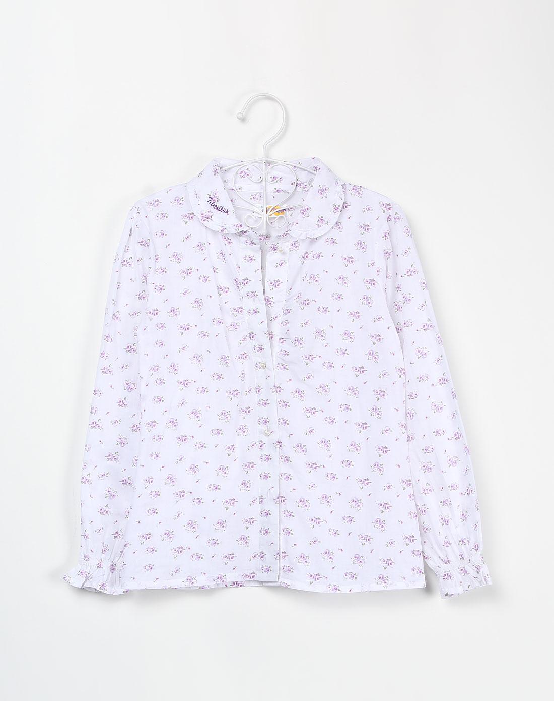 天线宝宝teletubbies女童白底紫拼绿色印花长袖衬衫tc