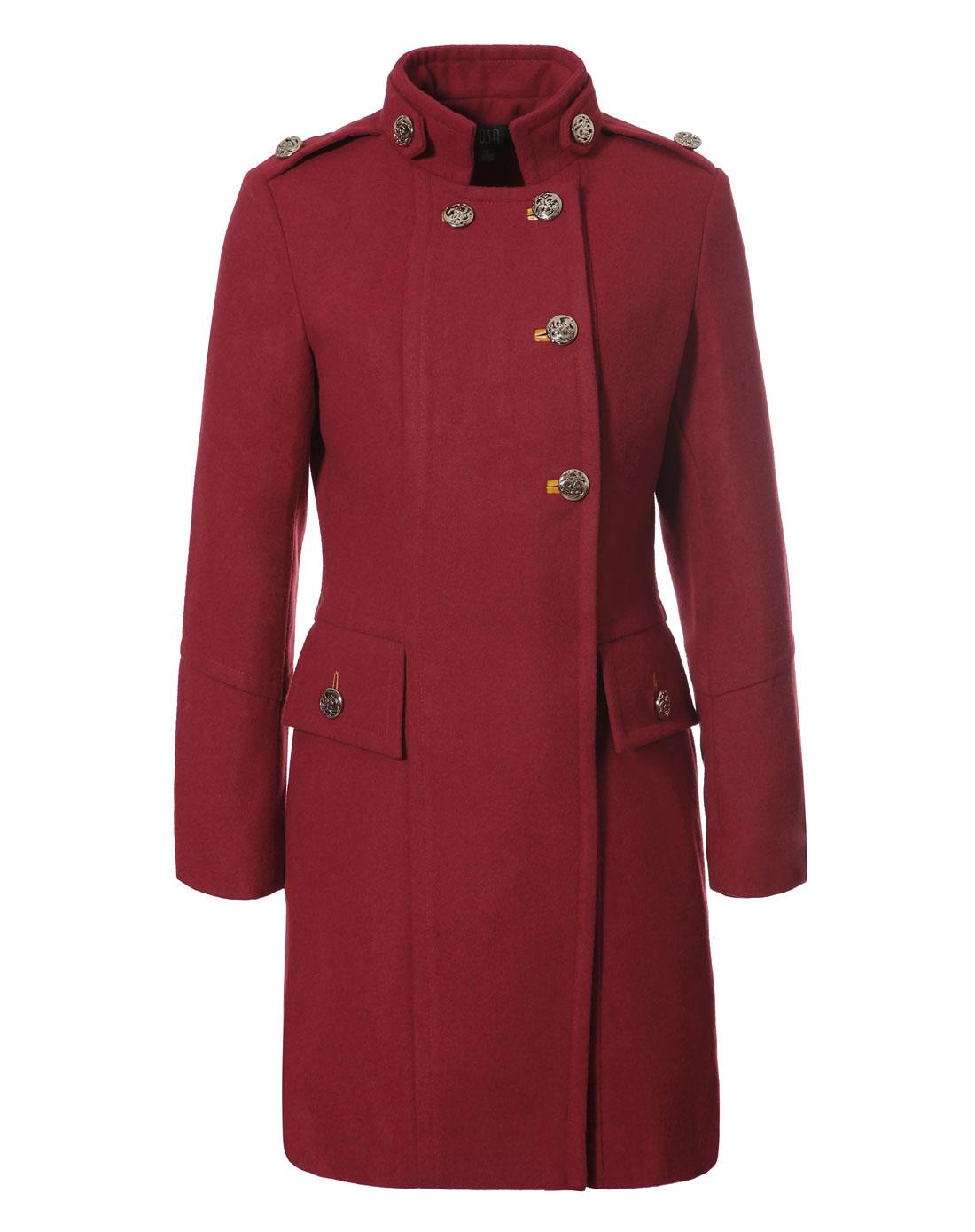 sa枣红色羊毛呢大衣sd236524500a