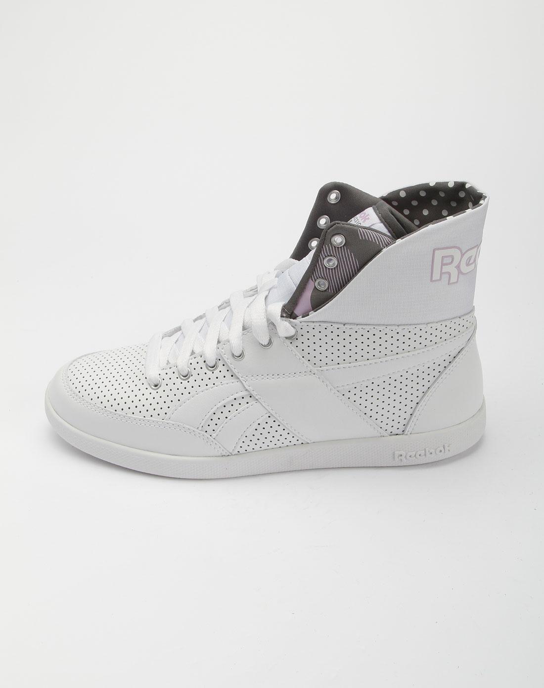 锐步reebok白色经典高筒运动鞋v71072